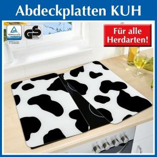 2 WENKO Glas Schneid Bretter im Kuh Design, schwarz weiß, Herd Abdeck Platten