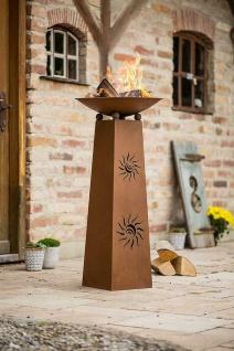 "Deko Säule ?Sonne"" + Feuer Schale aus Metall in Rost Optik, Garten Korb Stelle"
