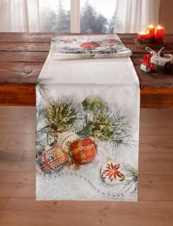 Deko Mit Christbaumkugeln.Tischläufer Christbaumkugeln 40x140 Cm Tisch Deko Band Decke Weihnachten