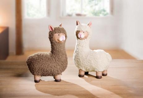 2er Set Deko Figur 'Lamapaar? aus Terracotta Wolle Lama Tisch Objekt Skulptur