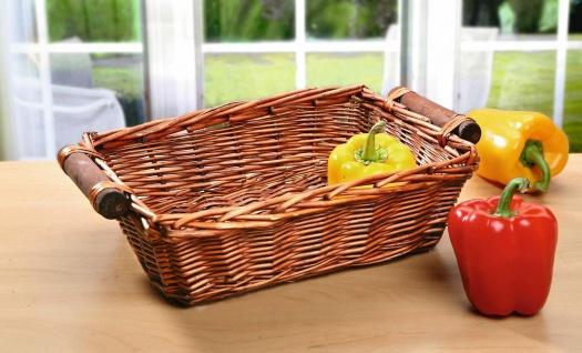 Korb Schale aus Weide mit Holz Griffen, Brot Brötchen Obst Gemüse Buffet Servier
