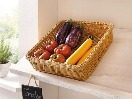 Auslagekorb aus Poly-Rattan 30x40 cm, Regal Obst Brot Servier Buffet Flecht Korb