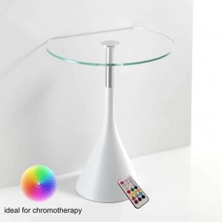 TOMASUCCI Design Glas Beistell Tisch STAR WHITE mit LED Beleuchtung Farbtherapie