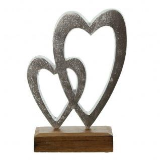 Herz Deko Holz Metall Figur Skulptur Objekt Ständer Braun Silber 2er Set