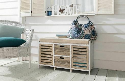 Sitz Bank aus Holz, Shabby Look, weiß, Türen + Schubladen Landhaus Truhe Kommode