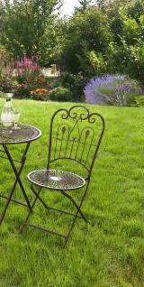 "Metall Klappstuhl "" Provence"" im Antik Design Nostalgie Eisen Garten Balkon Stuhl"