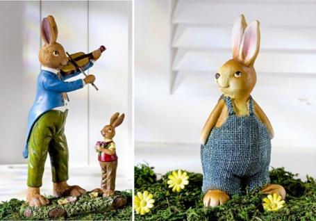 3 Osterhasen im Set: Hase mit Geige, Hasen Junges + Deko Hase, Oster Figur