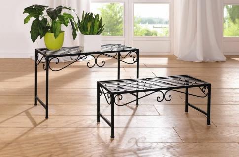 """2er Set Blumen Bank """" Ranken"""" Metall, schwarz, Beistell Tisch Pflanzen Ständer"""