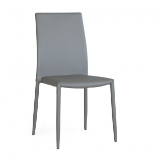 4er Set Designer Stühle DANI PLUS von CRIBEL grau, PU Leder Esszimmer Stuhl