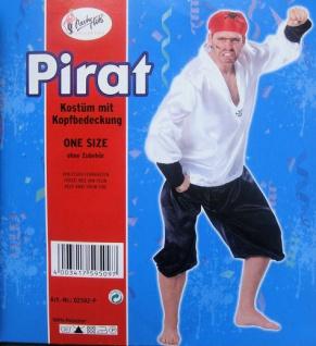 """3 tlg. Herren Fasching Kostüm """" Pirat"""" mit Hemd, Hose, Tuch, Karneval"""
