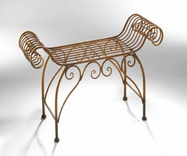 Metall Hocker im Barock Stil, Naturrost Garten Nostalgie Sitz Bank Stuhl Vintage