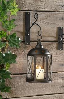 Laterne aus Metall & Glas, Antik-Design, Garten Kerzen Halter Windlicht Ständer