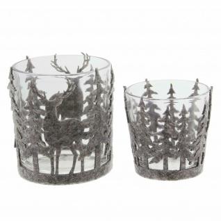 Windlicht Set aus Glas + Filz, Kerzen Teelicht Halter Ständer Winter Weihnachten - Vorschau 2
