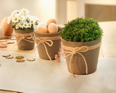 3er Set Pflanzer 'Jute mit Schleife? Pflanz Blumen Korb Topf Kübel Balkon Deko