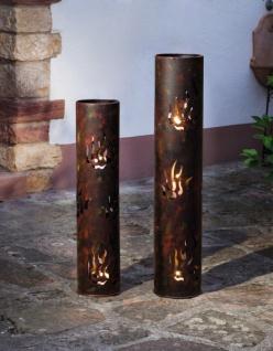 "2er Set Windlicht Säule "" Flammen"" aus Metall, Kerzen Halter Garten Laterne Lampe"