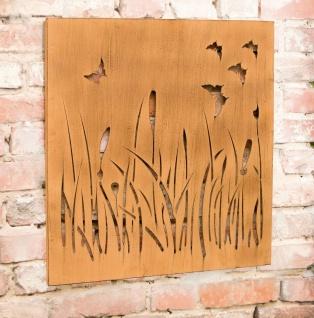 "Metall Wand Bild "" Wiese"" in Rost Optik, 58x58 cm, Garten Balkon Aussen Deko"