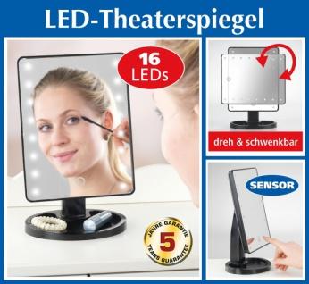 Schminkspiegel mit LED Beleuchtung, Kosmetik Theater Make-Up Stand Spiegel