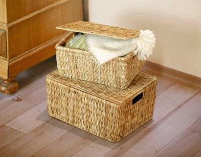 Universal Truhe groß, aus Wasserhyazinthe, Aufbewahrungs Wäsche Box Korb