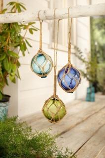 3er Set Deko Glas Kugeln im Fischer Netz, blau türkis grün, maritim Fenster Wand