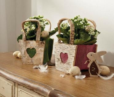 """2x Pflanz Tasche """" Herz"""" aus Birken Rinde & Jute Blumen Topf Schale Korb Pflanzer"""