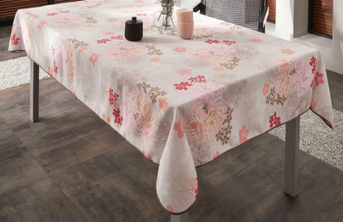 """Tafeldecke """" Blüten Romantik"""", 148x240 cm, Tisch Decke Tuch grau mit Blumen Motiv"""