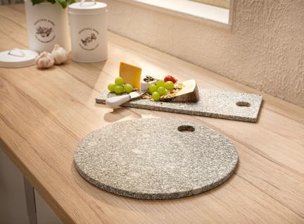 Schneide Brett aus Stein rund, Ø 30 cm, Schneid Servier Buffet Brot Käse Platte