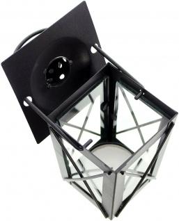 2er Set Mini Laternen aus Metall + Glas, schwarz, Teelicht Halter Windlicht - Vorschau 5
