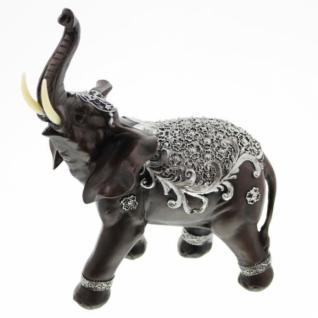 "Deko Figur "" Indischer Elefant' Polystein Deko Statue Asia Skulptur Tierfigur Neu - Vorschau 3"