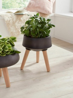 Übertopf skandinavisch dunkel grau, Holz Beine, Blumen Kübel Pflanz Topf Ständer - Vorschau 1