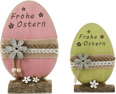"2 Holz Eier "" Frohe Ostern"" rosa & grün, 20 + 26 cm hoch, Oster Ei Deko Figur - Vorschau 2"