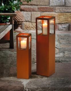 2er Windlicht Säule Trend Kerzenhalter Garten Deko Windlichthalter