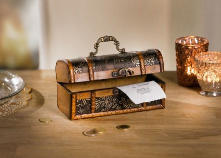 kleine Schatz Truhe aus Holz, Antik Design, Schmuck Geschenk Kiste Kasten Box