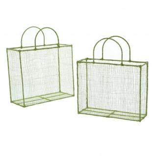 2er Set Geschenk Tasche grün / silber aus Sisal & Metall Korb Tüte Beutel - Vorschau 2
