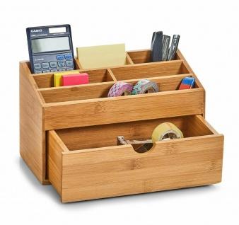 Zeller Bambus Holz Schreibtisch Organizer + Schublade, Stift Halter Aufbewahrung