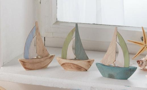 3 Mini Segelboote aus Holz, Deko Figur maritim Segel Schiff Boot Segler