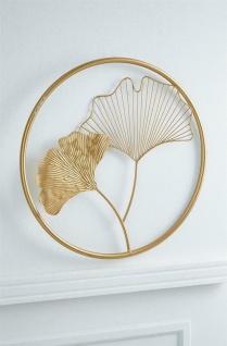 """3D Metall Bild """" Gingko"""" gold, Ø 43 cm, Wand Schmuck Deko Verzierung Blüten"""
