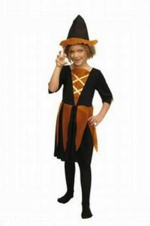 Kinder Mädchen Karneval Faschings Kostüm HEXE schwarz orange Gr. 134 Kleid + Hut