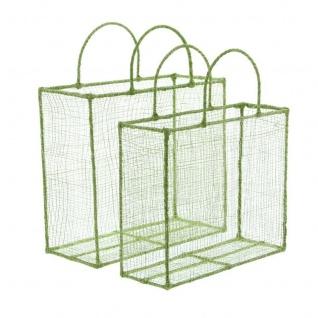 2er Set Geschenk Tasche grün / silber aus Sisal & Metall Korb Tüte Beutel - Vorschau 3
