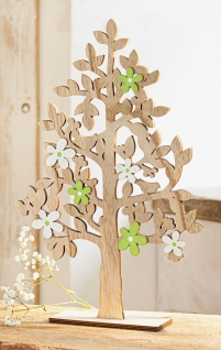 Holz Baum mit Blüten in weiß & grün, 40 cm hoch, Frühlings Deko Skulptur