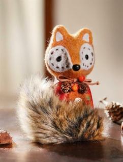 """Figur """" Herbstfuchs"""" aus Textil und Kunstfell, 15 cm hoch, Herbst Tier Deko Fuchs"""