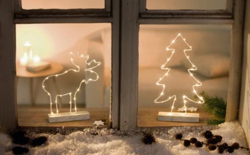 2er LED Deko 'Tanne & Elch?? Innenbereich Stimmungs Licht Objekt Weihnachten
