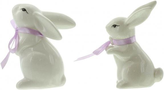 2 Deko Hasen aus Porzellan, weiß lackiert, mit Satin Schleife, Oster Dekoration - Vorschau 3