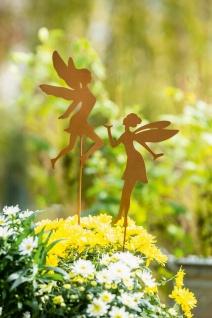 """2 Garten Stecker """" Fee"""" aus Metall in Rost Optik, Blumen Beet Deko Sticker"""