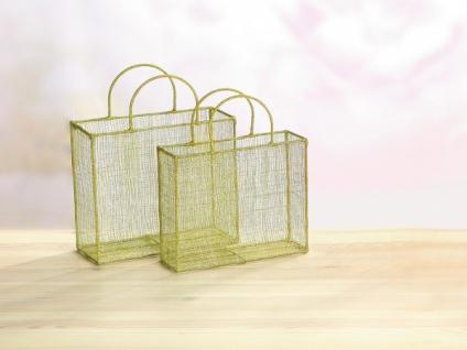 2er Set Geschenk Tasche grün / silber aus Sisal & Metall Korb Tüte Beutel