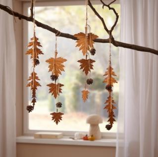 4er Metall Hänger 'Herbstblätter? Deko Herbst Fenster Wand Hängedeko Zapfen