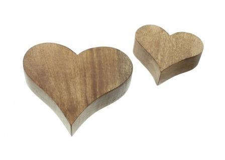 2 Herzen aus Mango Holz, Tisch Deko Figur Herz Skulptur Objekt Set - Vorschau 4