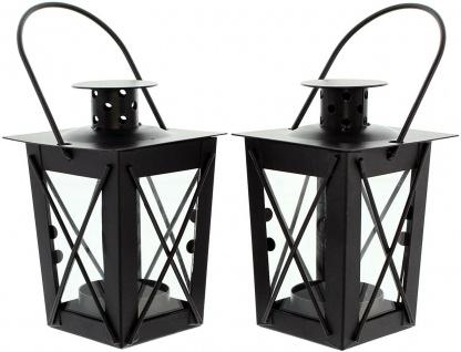 2er Set Mini Laternen aus Metall + Glas, schwarz, Teelicht Halter Windlicht - Vorschau 2