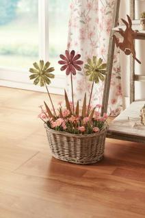 """3x Blumen Stecker """" Rost"""" gelb + pink, Ø 12x42 cm, Garten Beet Deko Sticker"""