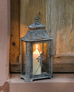 "Laterne "" Barock"" aus Metall, Antik Look, Garten Windlicht Kerzen Halter Lampe"