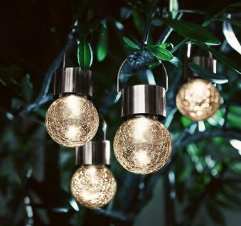 """4x LED Solar Leuchte """" Kristall"""" aus Glas, Garten Hänge Lampe Beleuchtung"""